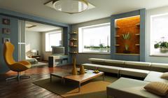 Modern lounge room interior Stock Photos