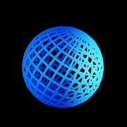 faceted blue 3d sphere - stock photo