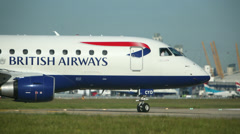 Stock Video Footage of British Airways Airliner Taxis Into Position Prior To Take Off