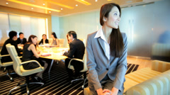 Boardroom Meeting Portrait Asian Chinese Businessman Businesswoman - stock footage