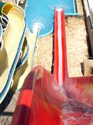 Red water slide fun Stock Photos