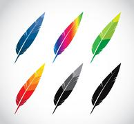 vector group of feather - stock illustration