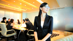 Stock Video Footage of Portrait Asian Chinese Business Manager Colleagues Corporate Conference