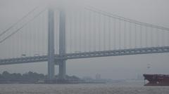 Bridge in Fog, Foggy, Smog, Air Pollution Stock Footage