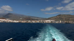 Ferry leaving port at Los Christianos at Tenerife Stock Footage