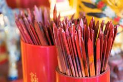 """Red bamboo stick for shaking, ancient chinese fortune telling call """"kau cim"""", Stock Photos"""