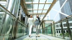 Ethnic Asian Chinese Women Business Laptop Outdoors City Buildings Stock Footage
