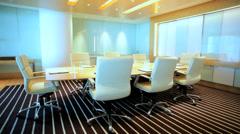 Modern City Boardroom Meeting Hub Table Chairs Indoors No People Stock Footage