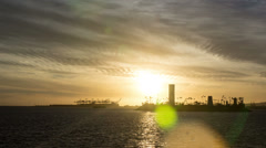 Long Beach Harbor Sunset Time Lapse Video - stock footage