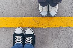 sneakers from above. - stock photo