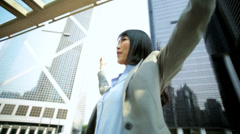 Triumphant Asian Chinese Businesswoman Modern City Environment Stock Footage