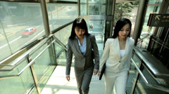 Asian Chinese Females Outdoors Business Successful Financial Career Stock Footage