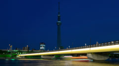 Tokyo Sky Tree light up night view time lapse Stock Footage