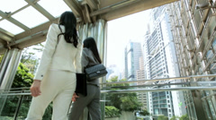 Asian Chinese Females Outdoors Business Successful Financial Career - stock footage