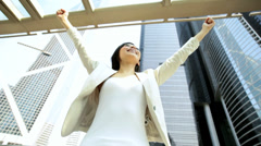 Ambitious Female Business Finance Outdoors Downtown Celebrating Success - stock footage