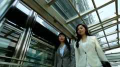 Downtown Asian Chinese American Businesswomen Financial Executive Stock Footage