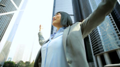 Young Ethnic Asian Chinese Businesswoman City Downtown Celebrating Achievements Stock Footage