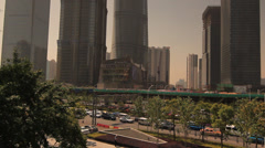 Traffic in Shanghai Pudong with Skyscrapers as background Stock Footage