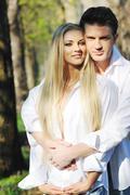 romantic couple in love outdoor - stock photo