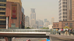 Pedestrian overpass in Shanghai Pudong Lujiazui Stock Footage