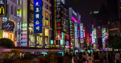 4K Busy Shopping Street Shanghai Stock Footage