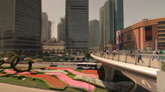 Pedestrian overpass in Shanghai Pudong Lujiazui with Scyscrapers Stock Footage