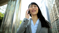 Young Ethnic Asian Chinese Businesswoman City Downtown Smart Phone Device Stock Footage