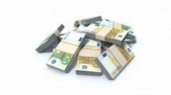 Stack of Euro bills Stock Footage