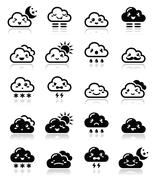 Cute cloud - Kawaii, Manga black icons different expressions, happy, sad, angry Stock Illustration