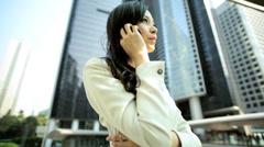 Female Asian Chinese Business Finance Hong Kong City Smart Phone Hotspot - stock footage