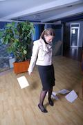 .happy businesswoman throwing documents Stock Photos