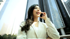 American Asian Chinese Girl Business Financial Executive Smart Phone Client Stock Footage