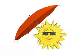 Cartoon sun with umbrella Stock Photos