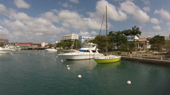 Yatchs in barbados near the independence square Stock Footage