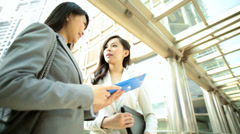 American Asian Chinese Girls Business Financial Executive Tablet Hotspot - stock footage
