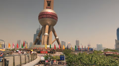 Tilt over Oriental Perl Tower Shanghai Lujiazui Stock Footage