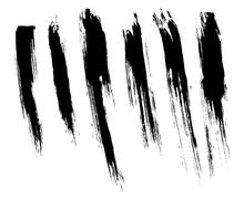 Black isolated ink brush strokes with messy drops Stock Illustration