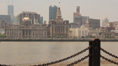 View on Bund colonial Buildings of Puxi from Pudong over Huangpu River Stock Footage