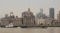Huangpu River View on Bund colonial buildings Stock Footage