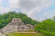 Stock Photo of tourists visit Palenque ruins in Chiapas, Mexico