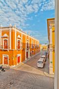 old colonial buildings in Campeche, Mexico - stock photo