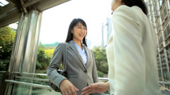 American Asian Chinese Girls Corporate Business Laptop Handshake Stock Footage