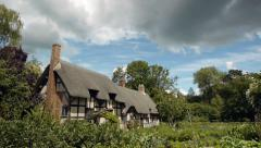 Medieval half-timbered English cottage. - stock footage