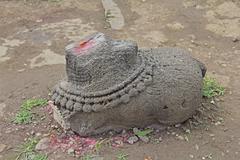 Ruined Nandi at Shri bhiravnath Temple - stock photo