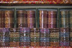 Meta Bangles at Market, India - stock photo