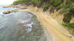 Aerial drone Mediterranean beach 03 Stock Footage