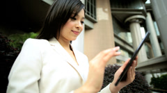 Ethnic Asian Chinese Woman Business Suit Outdoors Wireless Cloud Hotspot - stock footage
