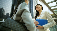 Ethnic Asian Chinese Women Business Smart Suit Outdoors Wireless Cloud Hotspot - stock footage