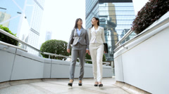 Ethnic Asian Chinese Women Handshake Business Outdoors City Buildings - stock footage
