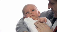 Baby not moving on white background - stock footage